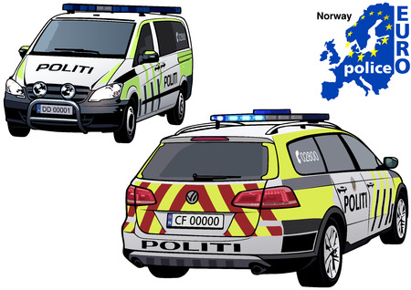highway patrol: Norway Police Car - Colored Illustration from Series Europol, Vector