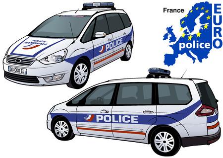 policier: France Police Car - Illustration colorée de la série Europol, Vector