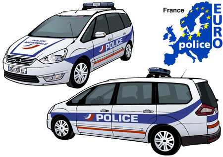 France Police Car - Colored Illustration from Series Europol, Vector