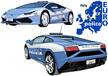 highway patrol: Italy Police Car - Colored Illustration from Series Europol, Vector Illustration
