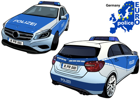 Germany Police Car - Colored Illustration from Series Europol, Vector