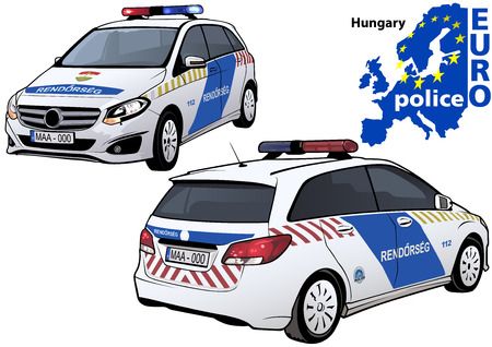 highway patrol: Hungary Police Car - Colored Illustration from Series Europol, Vector Illustration