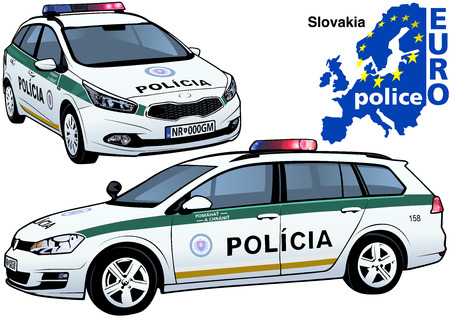 highway patrol: Slovakia Police Car - Colored Illustration from Series Europol, Vector Illustration