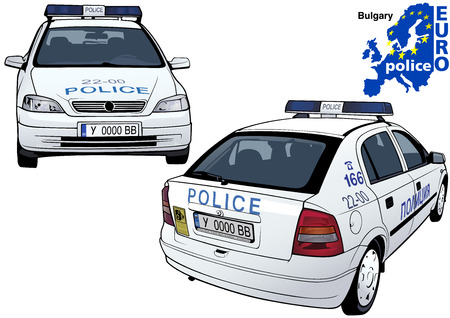 highway patrol: Bulgary Police Car - Colored Illustration from Series Euro police, Vector