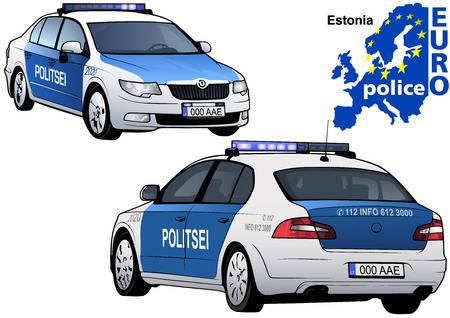 highway patrol: Estonia Police Car - Colored Illustration from Series Euro police, Vector