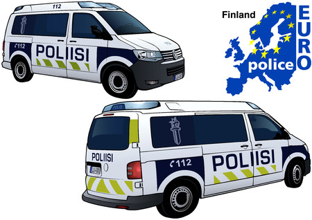 highway patrol: Finland Police Car - Colored Illustration from Series Euro police, Vector Illustration