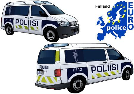 Voiture de police de Finlande - Illustration colorée de la série Euro police, vecteur