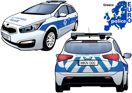 highway patrol: Greece Police Car - Colored Illustration from Series Euro police, Vector Illustration