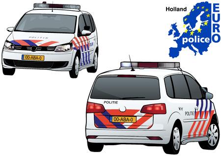 Holland Politiewagen - Gekleurde Illustratie Van Reeks Euro Politie, Vector