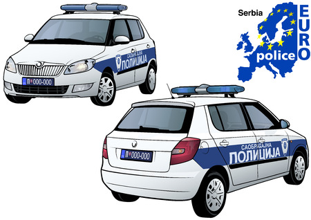 highway patrol: Serbia Police Car - Colored Illustration from Series Euro police, Vector
