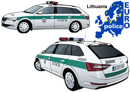highway patrol: Lithuania Police Car - Colored Illustration from Series Euro police, Vector