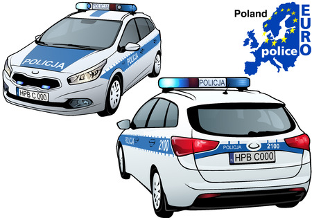 highway patrol: Poland Police Car - Colored Illustration from Series Euro police, Vector