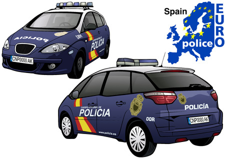 highway patrol: Spain Police Car - Colored Illustration from Series Euro police, Vector Illustration