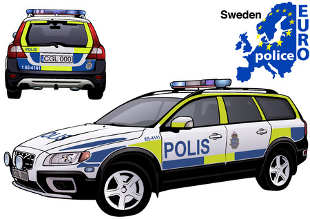 highway patrol: Sweden Police Car - Colored Illustration from Series Euro police, Vector
