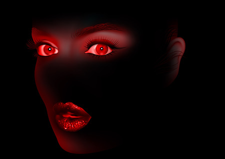 Red Woman Eyes and Lips On Black Background - Abstract Illustration, Vector