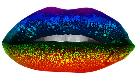 Rainbow Party Lips with Glitter - Isolated and Detailed Illustration, Vector