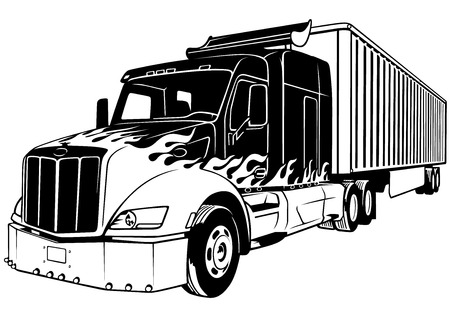 semitruck: American Truck with Trailer - Black Outlined Illustration, Vector