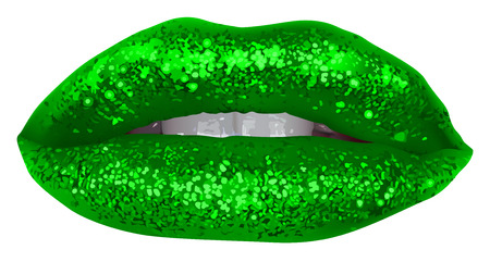 Green Lips with Glitter - Isolated and Detailed Illustration, Vector