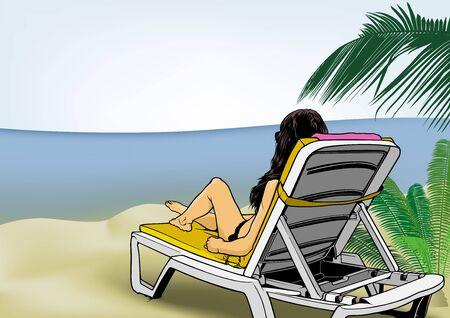 Woman Lying on Beach Lounger, Tanning in the Sun - Illustration, Vector Illustration