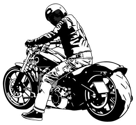 Harley Davidson y jinete - ilustración en blanco y negro, vector Vectores