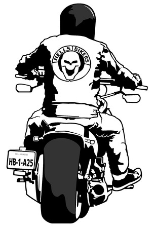 Harley Davidson and Rider - Black and White Illustration, Vector Vettoriali
