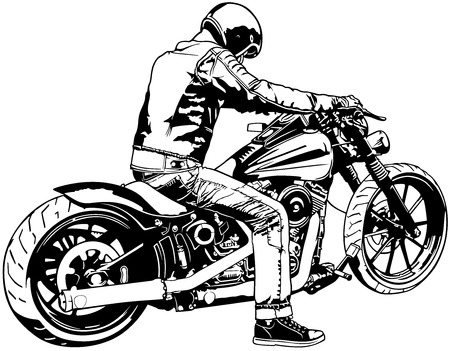 Motorbike and Rider - Black and White Vector Illustration.