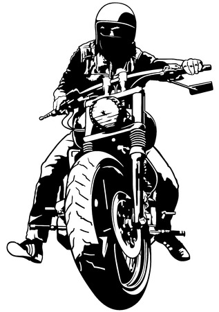 Harley Davidson and Rider - Black and White Illustration, Vector Çizim