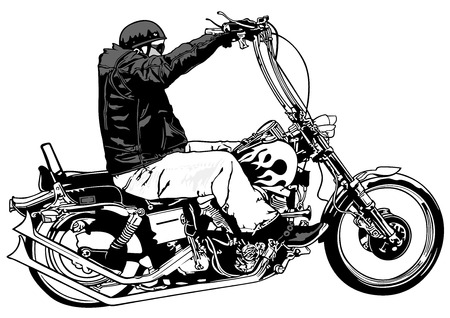 Rider On Chopper - Black and White Hand Drawn Illustration, Vector