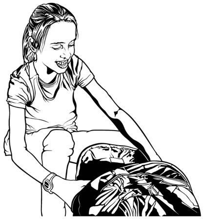 地面 - 黒と白の図面の図「学校に戻る」ベクトルにバックパックで小さな学校の女の子の笑顔