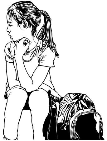 地面 - 黒と白の図面の図「学校に戻る」ベクトルにバックパックで座っている若い学校の女の子 写真素材 - 84171347
