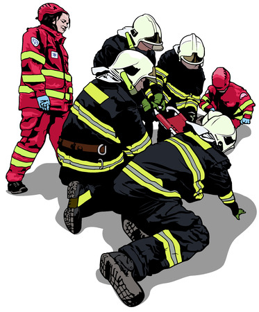 Firefighters and Rescuers in Action - Colored Illustration, Vector