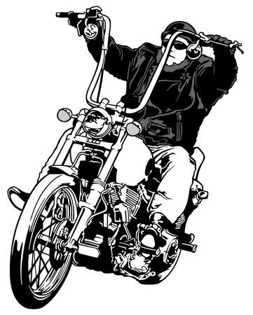 기수 헬기 - 흑백 손으로 그린 그림, 벡터 라이더