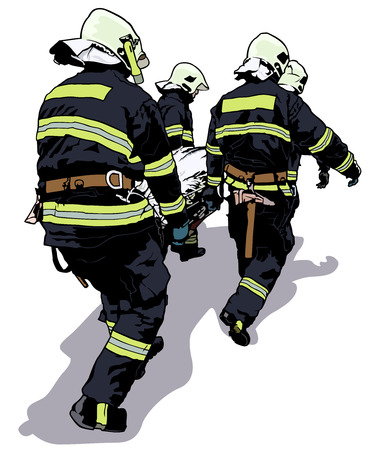 Firefighters and Saved Man on Stretcher - Colored Illustration, Vector