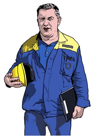 Worker in Blue Work Suit Holding Yellow Protective Helmet - Colored Illustration, Vector Illustration