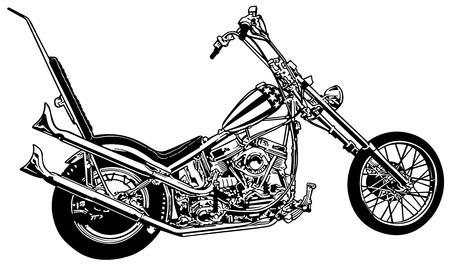 Captain America a Chopper Profile - Black and White Illustration, Vector