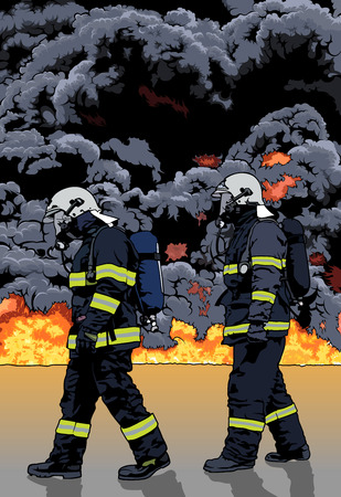 Firefighters and a Big Fire in the Background - Detailed Illustration, Vector
