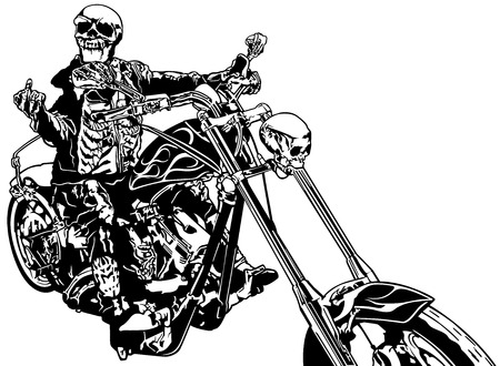Skeleton Rider On Chopper - Black and White Hand Drawn Illustration, Vector