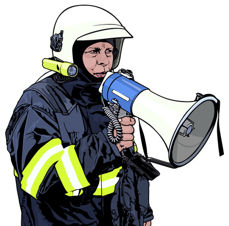 command: Fireman with Megaphone in Hand Illustration