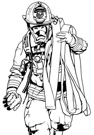 Pompiere con la manichetta antincendio sopra la spalla - illustrazione in bianco e nero, vettore.
