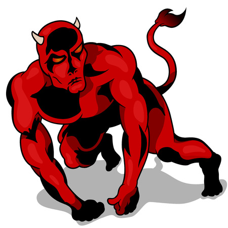 Muscular Red Devil with Glowing Eyes - Cartoon Illustration, Vector