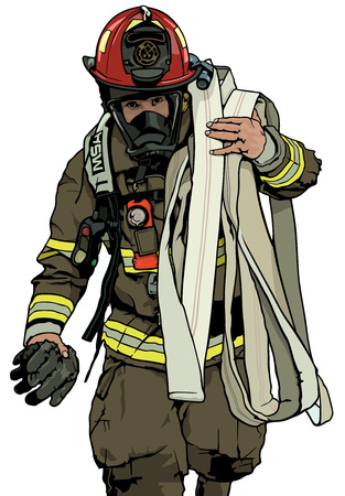 Firefighter With Fire Hose Over Shoulder - Colored Illustration, Vector Vectores