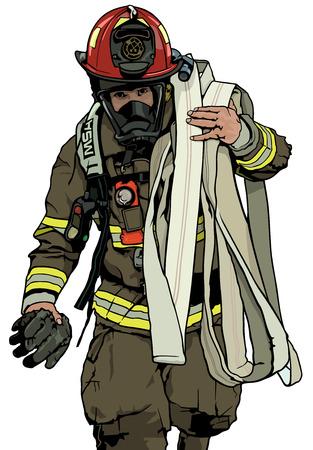 Brandbestrijder met Brandslang over Schouder - Gekleurde Illustratie, Vector