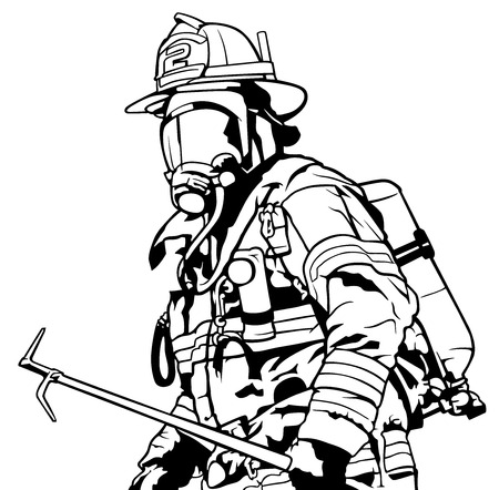 Fireman with Mask Holding Roof Hook in Hand - Black and White Illustration, Vector. Illustration