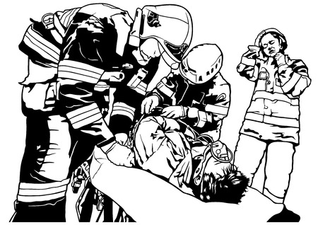 squad: Firefighters and Saved Man on Stretcher - Black and White Illustration, Vector Illustration