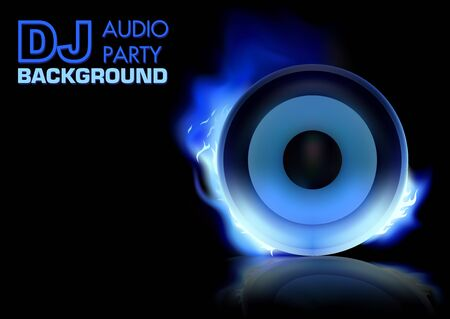 DJ Party Background with Burning Loudspeaker - Abstract Illustration, Vector Illustration