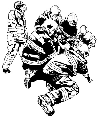 Firefighters and Rescuer in Action - Black and White Illustration, Vector