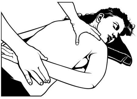 masseuse: Woman Getting A Back Massage - Black And White Illustration, Vector