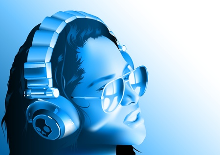 Dj Woman Wearing Headphones And Sunglasses In Blue Tones - Background Illustration, Vector