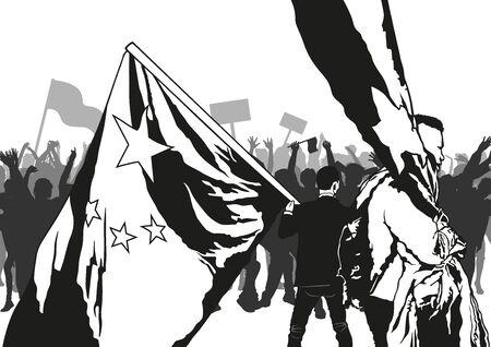 Demostración: la multitud sostiene pancartas y banderas, ilustración vectorial Ilustración de vector