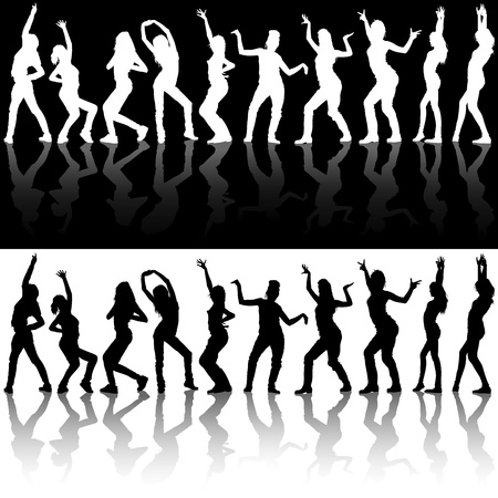 mirroring: Dancing Girl Silhouettes - Illustrations With Reflections, Vector